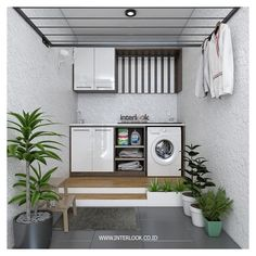 Image may contain: plant and indoor laundry area ideas mesincuci Home Room Design, Laundry Mud Room, Home, Trendy Bathroom Designs, Pantry Laundry Room, Outdoor Laundry Rooms, Bathroom Design Small, Indoor Outdoor Kitchen, Bathroom Design