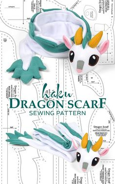Haku Dragon Scarf Sewing Pattern by SewDesuNe.deviant… on Haku Dragon Scarf Sewing Pattern by SewDesuNe.deviant… on Sewing Hacks, Sewing Tutorials, Sewing Patterns, Sewing Tips, Sewing Basics, Knitting Patterns, Sewing Stuffed Animals, Stuffed Toys Patterns, Cute Crafts