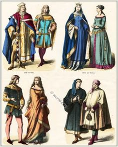 14th century clothing. Middle ages gothic costumes. Court dress, Gown of German nobility. Medieval fashion ideas