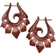 Hand Carved Organic Sono Wood Tribal Hanger Earrings $12.99 organic, horn, tribal, boho, bohemian, earrings, tapers, plugs, body candy, body jewelry, piercing