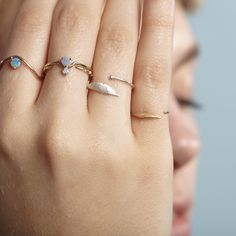 Subtle / Delicate: #WWAKE opal rings and two other custom pieces. Shop at: http://wwake.com/collections/opals/rings
