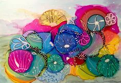 """Alcohol Inks painting, """"Coral Bliss"""", by J. Brandt. 5x7. SOLD"""