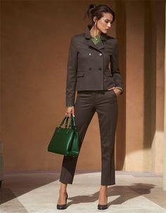Damen Businesshose aus Schurwollstretch in 7/8-Form in der Farbe braun-melange - dunkelbraun - im MADELEINE Mode Onlineshop
