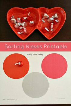 Sorting Kisses Valentine Math  Activity for Toddlers and Preschoolers. Includes free printable
