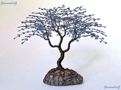 Blue Wire Tree Beaded Bonsai Sculpture 7.5  MADE TO by CassandraZ, $165.00