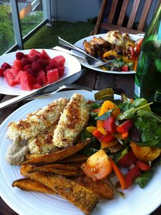 whole 30 meal  coconut chicken fingers(recipe here), sweet potatoes, salad, fruit