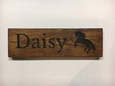 Horse Name SignSolid Redwood Pineblack letteringDark Oak x x ORDERAt the checkout, please enter your horses name in the 'message to seller' box. Stall Signs, Horse Names, Oak Stain, Horse Stalls, Name Signs, Stables, Etsy, Plates, Horses