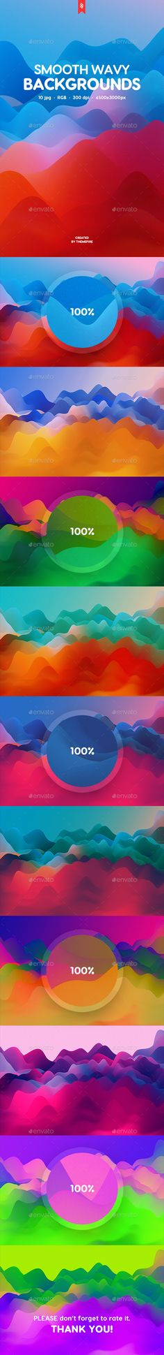 Colorful Smooth Wavy Backgrounds by themefire This pack contains 10 jpg abstract colorful smooth wavy backgrounds for your projects. You can use these backgrounds in the differ