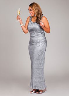 Ashley Stewart Web Exclusive Beaded Halter Top Evening Dress
