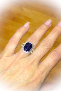 Sapphire Halo Engagement Ring 14kt White by PristineCustomRings