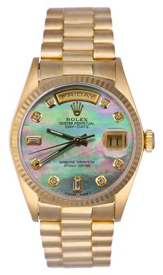 Rolex Mens President Yellow Gold Black MOP Diamond Dial / Fluted Bezel