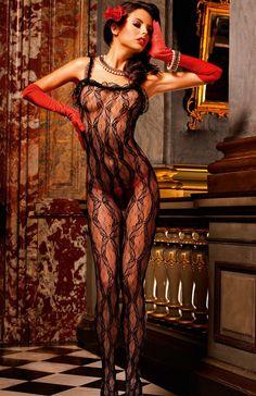 Baci Tango bodystocking Robiące wrażenie wspaniałe czarne body z siateczki w delikatne wzory z koronkowymi ramiączkami i obszyciami