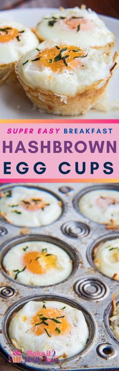 These super easy to make Hash Brown Egg Cups are one of my family's most popular picks for breakfast on busy mornings! All of your favorite breakfast flavors are packed into a muffin pan and baked to perfection! They're just the right size for a grab and Breakfast Cups, Egg Recipes For Breakfast, Delicious Breakfast Recipes, Savory Breakfast, Breakfast For Dinner, Brunch Recipes, Yummy Food, Breakfast Ideas, Sweets Recipes