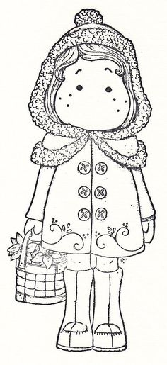 Little Christmas 08 Tilda With Hood Colouring Pics, Doodle Coloring, Adult Coloring Pages, Coloring Books, Magnolia Colors, Christmas Stencils, Doll Quilt, Card Patterns, Magnolias