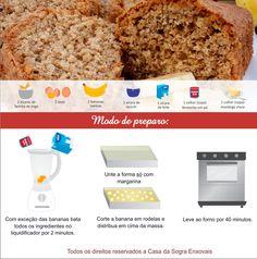 BOLO DE BANANA DE LIQUIDIFICADOR. Rápido de fazer e que é uma ótima opção para comer no café da manhã. Experimente!  Confira mais em: http://dicasdacasa.com