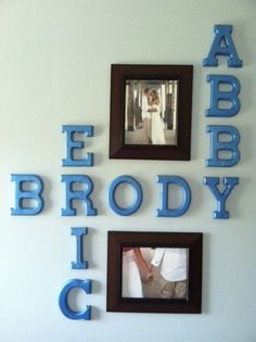 Wall Art: Husband, wife, and last name combined with wedding photos!