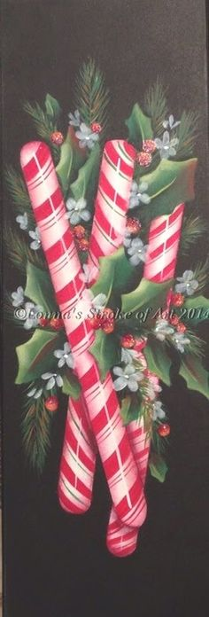 """step by step video of my """"Peppermint Stix"""" desgin. Painted with DecoArt Acrylic Paints. Pattern can be found at www.lonnasstrokeofart.com"""