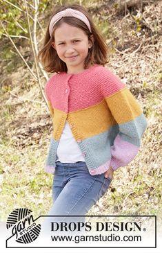 Candy Bar Jacket – PLETENÍ – NÁVODY Kids Knitting Patterns, Baby Cardigan Knitting Pattern, Knitting For Kids, Free Knitting, Baby Knitting, Crochet Patterns, Drops Design, Jacket Pattern, Stockinette