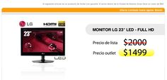 "Monitor LG 23"" led - e2340 Full HD   < PRECIO OUTLET $1499 >"
