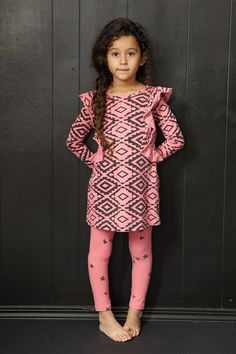 Deco printed Cascading ruffle dress for the girliest girl. Comfy and soft. Preshrunk. Made in the beautiful USA.