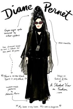 An Illustrated Guide To Fashion's Biggest Icons #refinery29  http://www.refinery29.com/famous-fashion-people#slide-3  Diane Pernet — writer and bloggerWhy we love her: Her dedication to the discovery of new talent     Illustrations by Joana Avillez