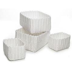 Woven Oblong White storage baskets