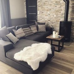 My little corner of warmth … it's so nice to be near the fire! A wall of stone facing, a wood stove, parquet to warm, an industrial style, bohemian Source by spaulet L Shaped Sofa, At Home Store, Small Apartments, Family Room, Sweet Home, Upholstery, New Homes, House Design, Furniture