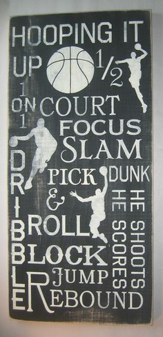 Basketball, Typography, Subway Art, Man Cave, Sports, Distressed, LARGE, Sign. $75.00, via Etsy.
