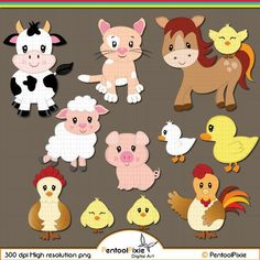 Farm Animals clipart Farmyard animals Barn Sheep Cow | Etsy Animals For Kids, Farm Animals, Cute Animals, Girls Quilts, Baby Quilts, Preschool Crafts, Crafts For Kids, Cute Animal Clipart, Duck And Ducklings