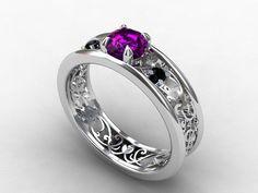 amethyst ring, filigree, engagement ring, black Diamond, wedding ring,  amethyst, filigree engagement, white gold, gothic, purple, black. $1,590.00, via Etsy.