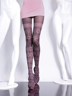 Fiore Hosiery Brand: Off pink Pantyhose with pattern around the lower part of the at and below the thigh Silk Stockings, Stockings Lingerie, Stockings Legs, Pantyhose Legs, Nylons, Stocking Tights, Fashion Tights, Tight Leggings, Sexy Legs