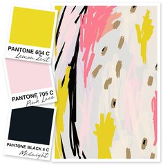 Loving this bold, modern color palette of lemon yellow, pale pink and black.