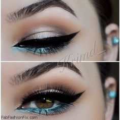 Black cat eyeliner and a pop of turquoise color for summer makeup inspiration.