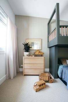 Kyal and Kara's kids' bedroom and the toy room have distinct difference but find harmony in similar design features including wood panelling in both rooms and sheer curtains in Marzipan Allusion that create a youthful, soft light. Kyal And Kara, White Internal Doors, Greenhouse Interiors, Diy Blinds, Bright Rooms, Curtain Designs, Kids Bedroom, Kids Rooms, Soft Furnishings