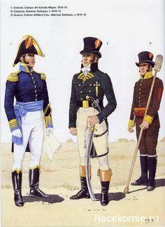 Spanish Army of the Napoleonic Wars (2) 1808-1812 1-Colonel d'etat Major 1810-15 2-Corporal, Almeria 1810-12 3-Gunner, artillery, Almeria 1810-12