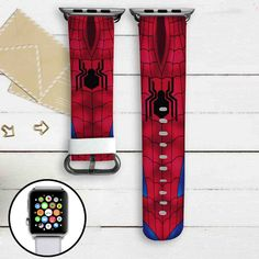 Spiderman With New Logo Civil War Custom Apple Watch Band Leather Strap Wrist Band Replacement