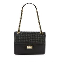 Karl Lagerfeld Paris Women's Quilted Leather Shoulder Bag ($160) ❤ liked on Polyvore featuring bags, handbags, shoulder bags, black, chain shoulder bag, quilted purses, quilted shoulder bags, chain strap purse and shoulder bag purse