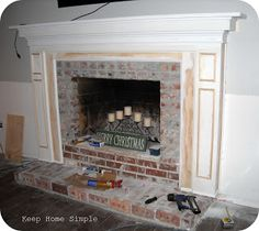 EXACTLY WHAT I WANT!!! Keep Home Simple: Fabulous Fireplace Makeover *Very well documented! I'd add some architectual moulding to the wall above the mantle and plan for some hidden wiring for a flat screen, cable and DVD player. I'd also try to plan for bookcase builtins to flank it. Big dream!!