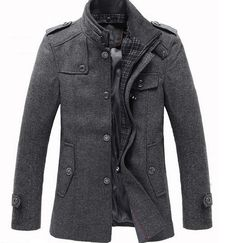 Splice Wool Jacket Men's Slim Fit Windproof Outerwear