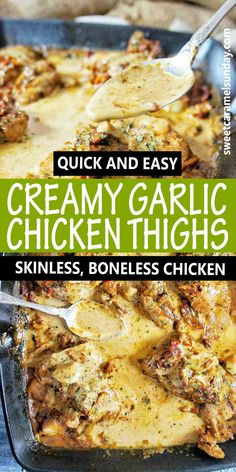 Easy sillet baked chicken thighs in a rich creamy sauce with sun dried tomatoes and garlic. For an insanely delicious tender chicken dinner tonight. #chickenrecipe @sweetcaramelsunday