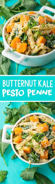 Pesto Penne with Roasted Butternut Squash and Kale :: my favorite Fall pasta!