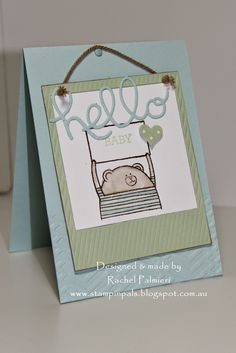 Cheerful Critters, Hello You Thinlets Z Cards, Paper Cards, Baby Cards, Kids Cards, Stampin Up Cards, Note Cards, Hand Stamped Cards, Cards For Friends, Handmade Baby