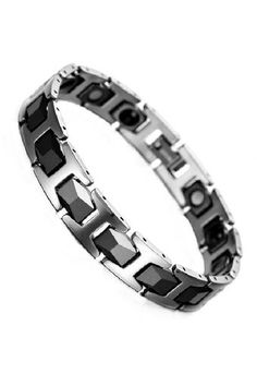 Men's Jewelry Diamond Faceted Two Tone Tungsten Magnetic Bracelet - Gelang Pria Kesehatan | http://www.lazada.co.id/mens-jewelry/