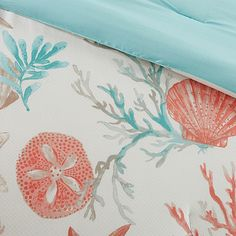 Escape to the sea when you enter your bedroom with the Madison Park Pebble Beach Comforter Set. Adorned with starfish and coral motifs in rich coral and teal colors, the coastal bedding instantly brings the beauty of the beach to your bedroom. Queen Size Comforter Sets, King Duvet Cover Sets, Duvet Sets, Duvet Covers, Queen Duvet, Beach Comforter, Beach Bedding Sets, Coastal Bedding, Luxury Bedding