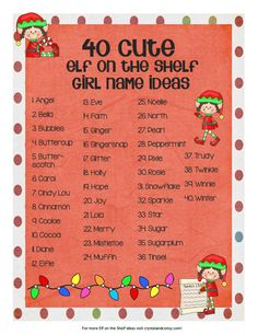 40 girl elf on the shelf name ideas