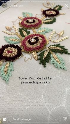 Zardosi Embroidery, Embroidery On Kurtis, Hand Embroidery Dress, Bead Embroidery Patterns, Embroidery Suits Design, Couture Embroidery, Flower Embroidery Designs, Beaded Embroidery, Hand Work Blouse Design
