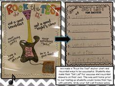 Eberhart's Explorers: Rock the Test + a freebie! Ap Test, Staar Test, Test Day, Test Prep, Classroom Inspiration, Classroom Ideas, Classroom Board, Classroom Organization, Bulletin Boards