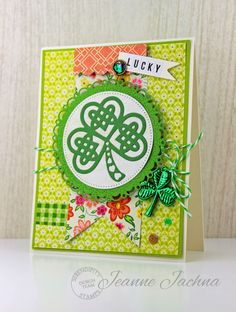 Jeanne Jachna: A Kept Life – Serendipity Stamps - Spring Fever - 3/4/15.  (Dies:  Serendipity Stamps Clover; Pretty Pink Posh Stitched Borders; Cheery Lynn Horizon Boutique Circle Stacker; Paper Smooches Flag Tags; MFT Blueprints 3).