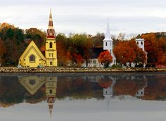 St. James' Anglican Church, St. John's Lutheran Church and Trinity United Church, Mahone Bay, Nova Scotia