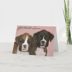 Get well soon Boxer Puppies greeting card - tap/click to get yours right now! #get #well #cards #feel #better